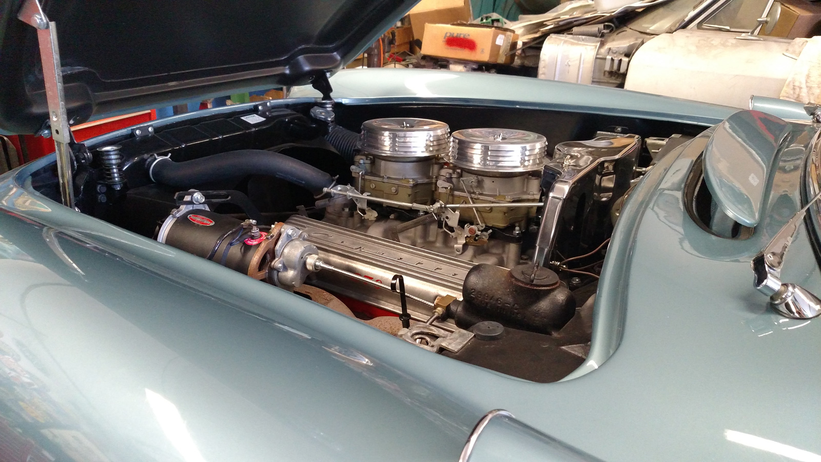 1956 Corvette receiving a tune-up at Tristar Automotive in Santa Rosa, CA.