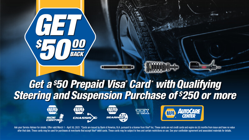 Save on NAPA steering and suspension parts at Tristar Automotive through April 30, 2021.